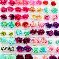 Wholesale colourful flowers - Hot sale colourful rose shape stud earrings fashion beautiful ear stud resin flower earring 36pairs set T3C0059