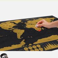 off r toptan satış-Drop shipping dünya haritası karalamak için siyah ev dekorasyon duvar sanat zanaat vintage poster r seyahat ve oturma odası dekor
