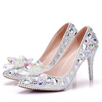 2018 new fashionl silver rhinestone pointed toe shoes for women 9cm heels ab crystal wedding shoes thick heel shoes plus size