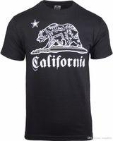 ingrosso uomini di camicia bandana-Graphic Tee Shirts Men's Short Sleeve Gift O-Neck Uomo California Bandana Bear Nero Camicie camicia