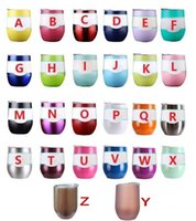Wholesale Wine Cup Lid Wholesale - 9oz Egg Cup Double Layer Tumbler Mug Powder Coated Stainless Steel Beer Wine Vacuum Insulated Cups 26 colors