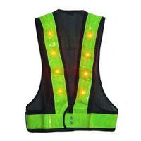 led reflexivo al por mayor-16 LED iluminan chaleco de seguridad con rayas reflectantes Kevlar chaleco táctico neón lima V ropa Cinturón de seguridad artículo de impresión