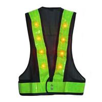 chalecos de seguridad negros al por mayor-16 LED Light Up chaleco de seguridad con rayas reflectantes Kevlar chaleco táctico Neon lime V ropa Cinturón de seguridad Impresión del artículo