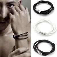 Wholesale mens wrap bracelets for sale - Group buy Mens Multilayer Leather Bracelet Korean Braided Twisted Chain Rope Bracelet Double Wrap Bangle Men Hip Hop Women Jewelry DHL