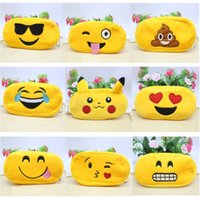 Wholesale cartoon stationery office school writing supplies for sale - Group buy Pencil Case Pencil Bags Emoji Plush Zipper Cosmetic Bag Cartoon Styles Pouch Writing Supplies Office School Stationery bag free