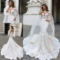 Wholesale high neck wedding lace cape - Gorgeous Mermaid Lace Wedding Dresses With Cape Sheer Plunging Neck Bohemian Appliqued Plus Size Bridal Gown Vestidos De Nnovia