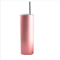 palha de ouro rosa venda por atacado-20 oz Copo De aço Inoxidável Rosa de Ouro Rosa Canecas de Café de Aço Inoxidável 304 Garrafa De Água de Viagem Copo de Copo de Carro com Palhas DHL livre