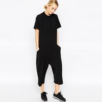kadınlar için siyah pantolon rompers toptan satış-kadınlar kısa kollu gevşek Rompers tulumları gündelik uzun Tulum Buzağı-Uzunluk harem Pants siyah bodysuit 2018 yaz kadın giyim