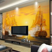 Wholesale Custom D Mural Wallpaper Oil Painting Sailboat Smooth Sailing TV Backdrop Decoratives Picture Modern Wallpaper For Living Room