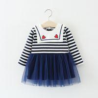 sonbahar bebek partisi elbisesi toptan satış-Bebek Uzun Kollu Elbise Bebek Kız Giysileri 2018 Güz Moda Prenses Şerit Bebek Parti Elbise Kız Toddler Giysileri Vestidos
