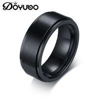 anéis pretos fosco venda por atacado-DOYUBO Rotatable Preto dos homens Anel Fosco Clássico Anel de Aço Inoxidável 316L Gravado Nome / Lettles Punk Acessórios DA067