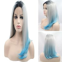 Wholesale gray short cosplay wigs - Wholesale price Short BOB Cosplay wigs 3 Tones Synthetic Lace Front Wig Black Gray light Blue Ombre Straight wig Heat Resistant Hair