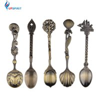 Wholesale bronze spoons - 5 Pcs  Set Kitchen Dining Bar Vintage Royal Style Bronze Carved Small Coffee Spoon Flatware Cutlery Mini Dessert Spoon For Snacks
