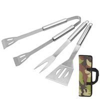 Wholesale bbq sets - BBQ Tools Set Stainless Steel BBQ Tongs Skewer Fork Spatula Barbecue Accessories Outdoor Barbecue Grilling Tools OOA3954