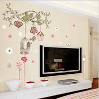 salon mührü toptan satış-Ücretsiz kargo Mutlu Kuş Kafesi Ağacı DIY Çıkarılabilir Duvar Çıkartmaları Mural Parlor Çocuklar Yatak Odası Ev Dekor Evi