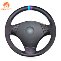 ingrosso coperture di volante in pelle scamosciata nera-Coprivolante nero MEWANT in pelle scamosciata nera per BMW E90 320 318i 320i 325i 330i 320d X1 328xi 2007