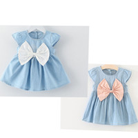 Wholesale puff bow dress for sale - Hot sale Princess baby clothing baby girls bow knot mini dress baby summer style short sleeve party dresses
