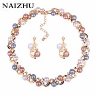 Wholesale costume jewelry pearl set - Hot Sale imitation Pearl Necklace earrings set gold-color Wedding Fashion jewelry trendy Women Costume jewelry set