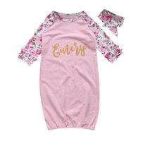 rosa baumwoll-babydecke großhandel-Nette Rosa Baby Mädchen Floral Schlafsäcke Baumwolle Langarm Kinder Mädchen Swaddle Decken Stirnband Outfits Kleidung 0-24 Mt