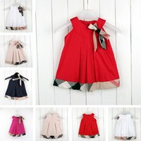 Wholesale new clothing brand for kids - new Fashion kids Girls Baby Children Dresses Bow Princess Dress Summer Sleeveless Dresses for Girls Kids boutique clothes clothing