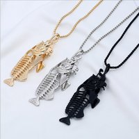 Peixes góticos Fishbone SkulL Peixe Bone Fish Hook Pingente Colares Corrente Punk Style Men Steampunk Link Chain Personality Jewelry