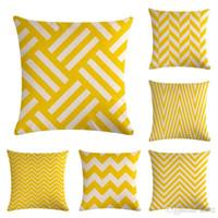 almohada almohada amarilla cubre al por mayor-Geometría amarilla serie raya funda de almohada clásica cubierta de cojín de lino sofá dormitorio decoraciones almohada venta caliente 5 5zm ww