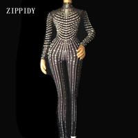 ingrosso bodysuit nero stretch-Fashion Black Nude Pearls Tuta Un pezzo Stretch Sexy Tuta Stage Performance Party Festeggia leggings di lusso