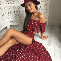 Wholesale maxi red wines - 2017122505 Bohemian Off Shoulder Two Piece Suit Long Dress Women Ruffles Side Split Maxi Dress Chic Wine Red Dress Vestido