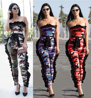e768e561b78 Wholesale sexy strapless bodysuit online - Women strapless Jumpsuit Rompers  Ruffles Sexy Overalls with sashes Bodysuit