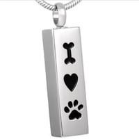 würfel haustiere großhandel-Ich liebe meinen Hund Memorial Feuerbestattung Schmuck Urne Memorial Keepsake Anhänger Pet Paw Print Edelstahl Halskette Geschenk (Silber Cube)