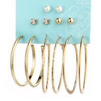 personalisierte ohrringe großhandel-Entwerfermetallohrringe 6 Paare der großen runden personalisierten Ohrringe der Perlenklage beschmutzen freies Großhandelsverschiffen