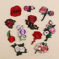 rose patch großhandel-Diy Patches Pflaume Rose für Kleidung bestickt Patch Applique auf Patches Nähzubehör Abzeichen Aufkleber für Kleidung Tasche 10 Stück