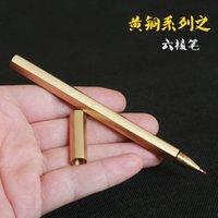 pirinç kenarlı toptan satış-Altı kenar pirinç kalem, el yapımı saf altı açı pirinç kalem, metal nötr bambu yaratıcı hediye.