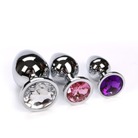 Wholesale Jewelry Butt Ass - 10 pcs lot Medium size Metal Crystal Anal Plug Sex Toys, Jewelry Butt Plug Ass Sexy Stopper, Adult Sex Toys for Couples