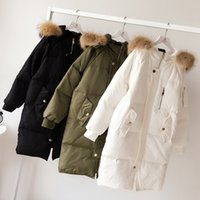 Wholesale Womens Real White Fur Coat - 100% Real Raccoon Fur Collar 2017 Winter Jacket Women New Brand Long Thick White Duck Down Jacket Hood Coats For Womens Parkas