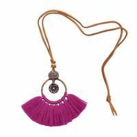 ingrosso collana indiana collare in oro-Set di gioielli di collare di cotone indiano bohemien etnico oro metallo tribale gioielli fascino filo nappa choker collane orecchini set