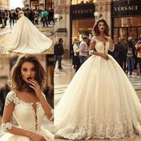 Wholesale tulle ball gowns wedding dresses for sale - Group buy Vintage Gorgeous Ball Gown Wedding Dresses Half Sleeves Lace Applique vestido de novia Bridal Wedding Gowns Plus Size