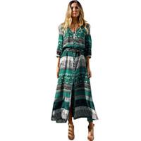 ingrosso abiti maxi marroni-2019 Estate Moda Donna Bohemia Dress Stampa V Neck Mezza manica Split Maxi Dress Button Retro Long Dress Brown / Green Robe Femme