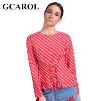 Wholesale bright color blouse resale online - GCAROL Early Spring Striped Women Shirt Tie Up Design Blouse High Quality Slim Bright Color Tops For Ladies