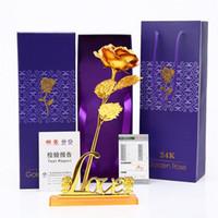 künstliche rosen valentines tag großhandel-Goldrosen-24K Goldfolie-Dekoration-künstliche Rosen-Blumen in der Geschenkbox Bestes Geschenk für Mutter-TagesValentinsgruß-Tagesweihnachten Erntedank 079