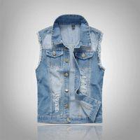coletes jeans mens venda por atacado-2018 calças de Brim de Algodão Sem Mangas Jaqueta Men Plus Size 6XL Azul Escuro Denim Jeans Colete Homens Vaqueiro Denim Colete Jaquetas Mens
