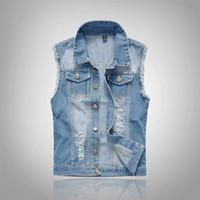 ingrosso giacca di cotone senza maniche-Giacche senza maniche da uomo in cotone jeans 2018 Plus Size 6XL Denim blu scuro Jeans da uomo Giacche da uomo in denim da cowboy