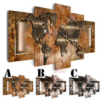 Wholesale brown wall panel art for sale - Group buy No Frame Wall Art Picture Printed Canvas Oil Painting set Home Decor Extra Mirror Border World Abstract Map Brown