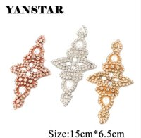 YANSTAR 2PCS Rhinestone Appliques Iron On Bridal Sash Rose Gold Ctystal  Appliques DIY Wedding Dress Belt YS901 2fee323047c4
