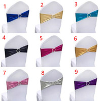 finished edge spandex lycra chair bands elastic chair sash with buckle for wedding