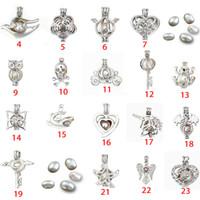 colgantes jaula para perlas al por mayor-Joyería de moda Joyas de perlas de plata Locket Colgante Hallazgos Jaula Aceite esencial Difusor Locket Para Oyster Pearl