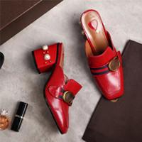 chaussures à talons épais vert achat en gros de-Rouge noir foncé vert femmes épais talons mules pantoufles chaussures slip sur perles gladiateur féminin pantoufles chaussures mujer printemps été lady pantoufles