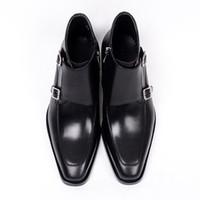 botas de trabajo marrones hombres al por mayor-2018 Nuevo estilo para hombre botas de seguridad en el trabajo de cuero genuino doble hebilla negro marrón botines masculinos zapatos CH-01