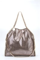 Wholesale golden tote - Dropship 2018 new Top quality golden chain falabella Classical fold-over PVC 37CM MID Steel heavy Chain Shaggy Deer fold over causal tote