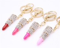 Wholesale 14k Gold Coin Pendant - Classic Flicker Pink Lipstick Keychains Metal Alloy Car Keyring Handbag Pendant Charms Key Buckle Gift Hot Sale 3 4sg Y
